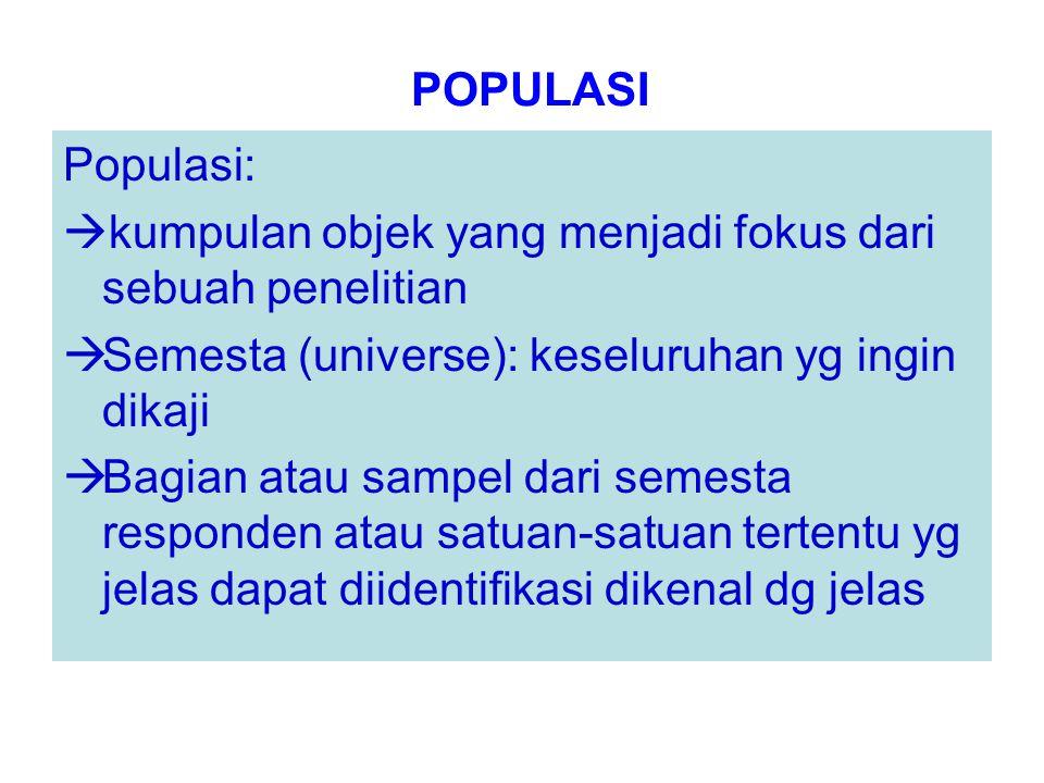 POPULASI Populasi: kumpulan objek yang menjadi fokus dari sebuah penelitian. Semesta (universe): keseluruhan yg ingin dikaji.