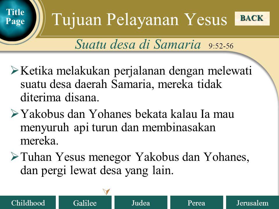 Tujuan Pelayanan Yesus