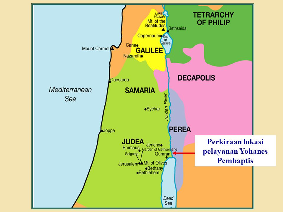 Perkiraan lokasi pelayanan Yohanes Pembaptis