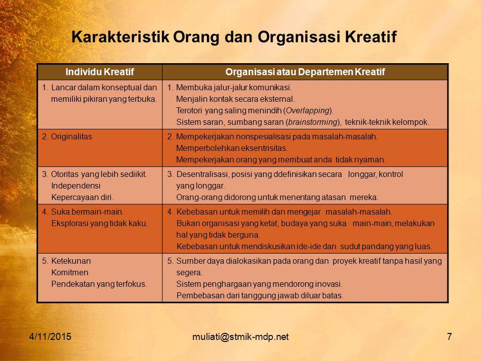 Karakteristik Orang dan Organisasi Kreatif