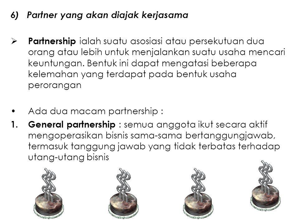 6) Partner yang akan diajak kerjasama