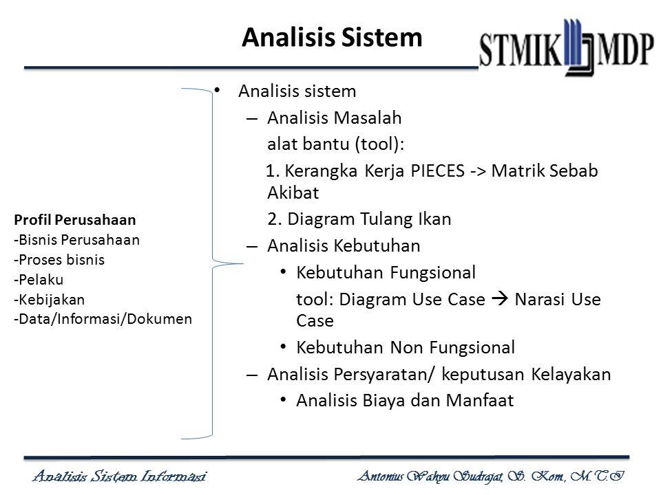 Analisis Sistem Analisis sistem Analisis Masalah alat bantu (tool):