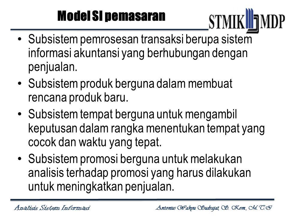 Model SI pemasaran Subsistem pemrosesan transaksi berupa sistem informasi akuntansi yang berhubungan dengan penjualan.
