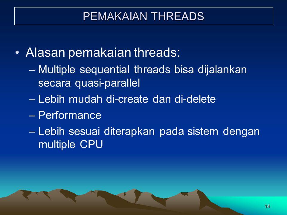 Alasan pemakaian threads: