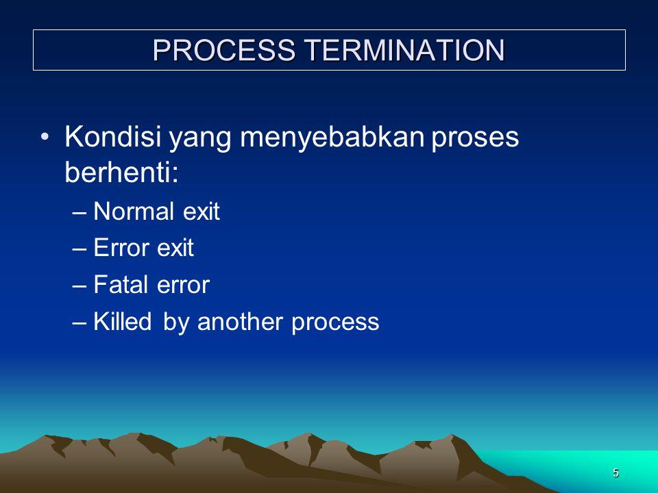 Kondisi yang menyebabkan proses berhenti: