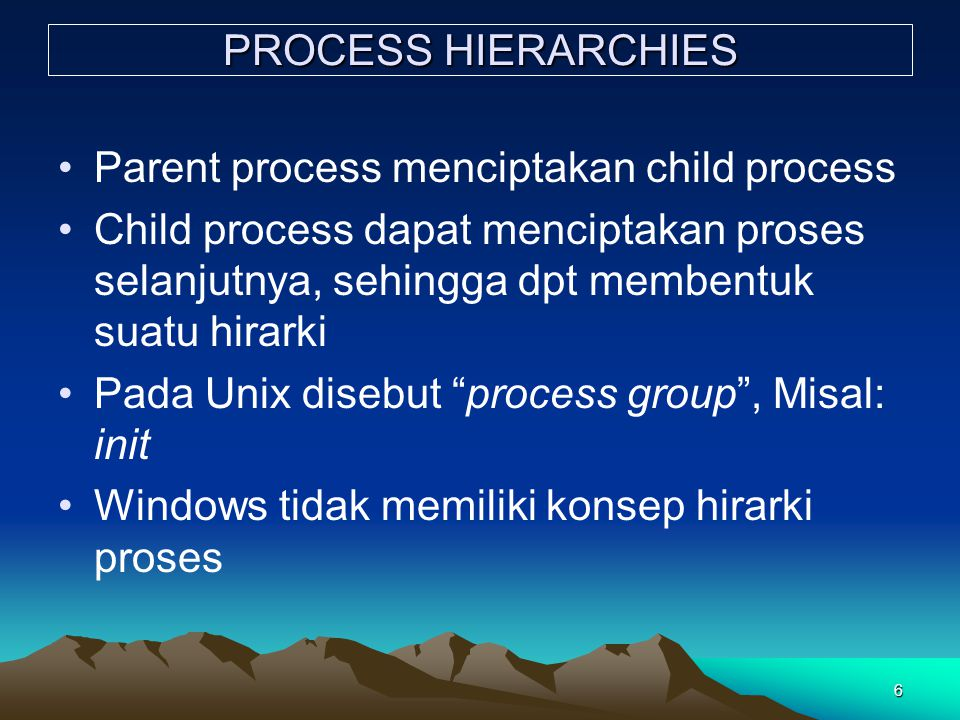 PROCESS HIERARCHIES Parent process menciptakan child process.