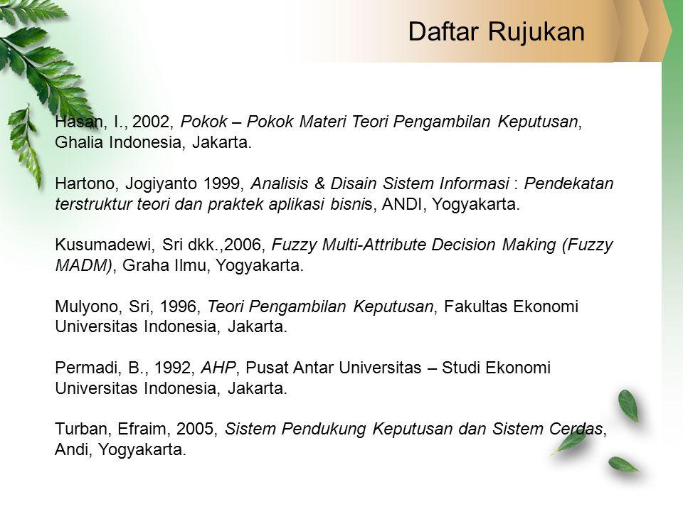 Daftar Rujukan Hasan, I., 2002, Pokok – Pokok Materi Teori Pengambilan Keputusan, Ghalia Indonesia, Jakarta.