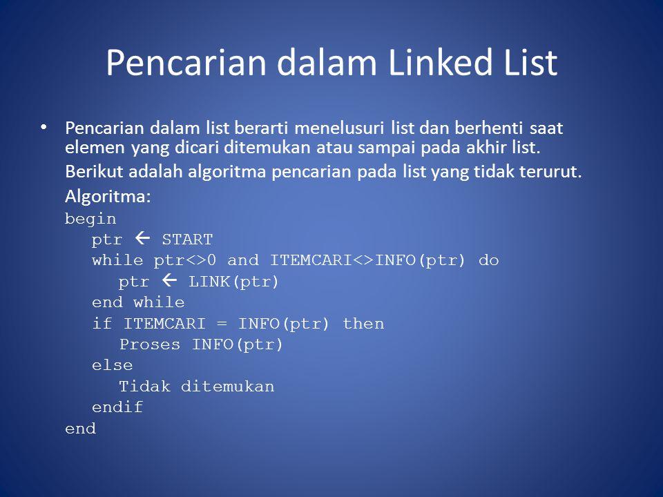 Pencarian dalam Linked List