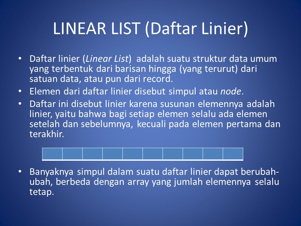 LINEAR LIST (Daftar Linier)