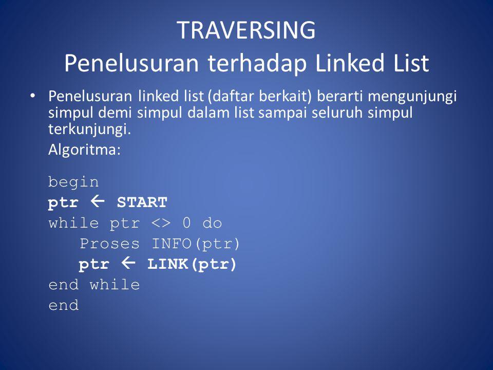 TRAVERSING Penelusuran terhadap Linked List