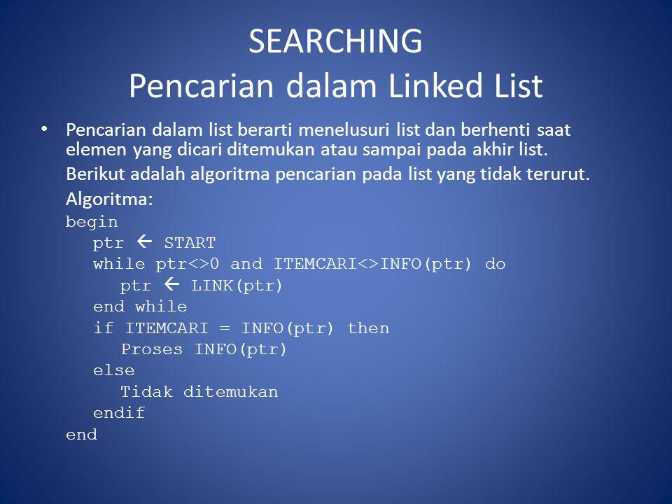 SEARCHING Pencarian dalam Linked List