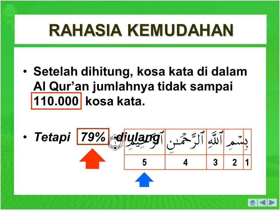 RAHASIA KEMUDAHAN . Setelah dihitung, kosa kata di dalam Al Qur'an jumlahnya tidak sampai 110.000 kosa kata.
