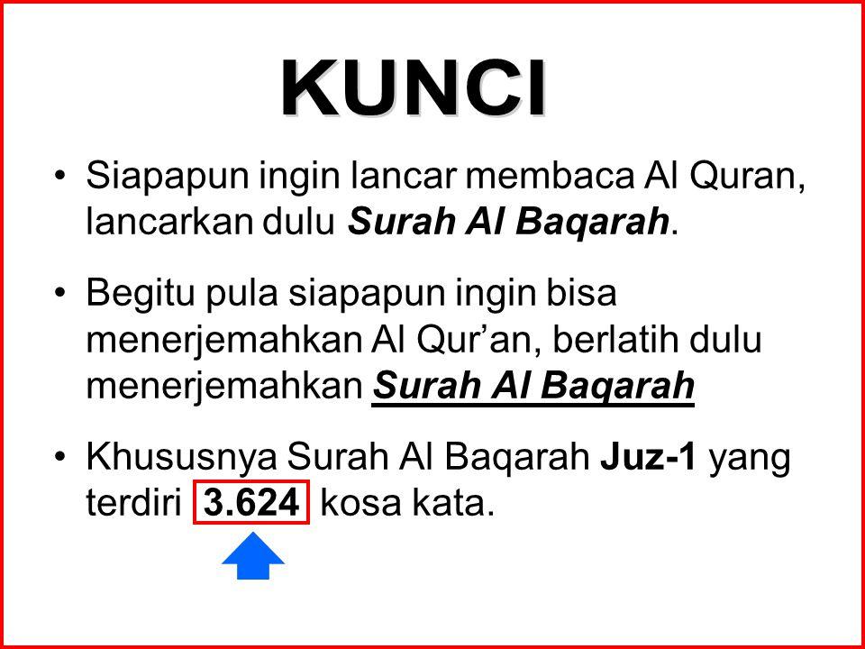 KUNCI Siapapun ingin lancar membaca Al Quran, lancarkan dulu Surah Al Baqarah.