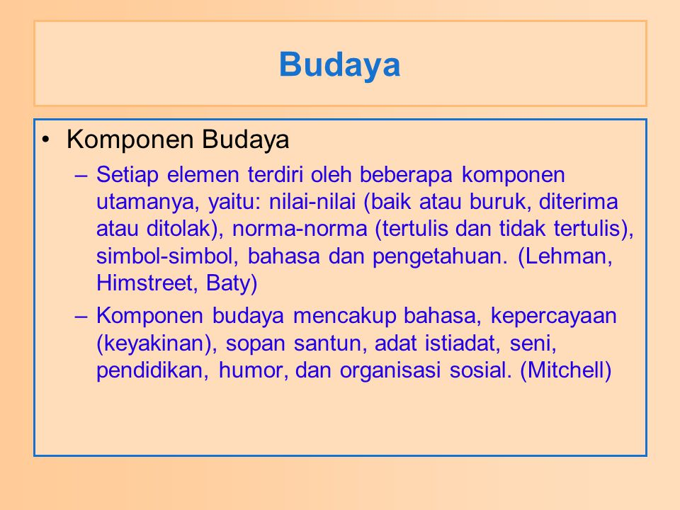 Budaya Komponen Budaya