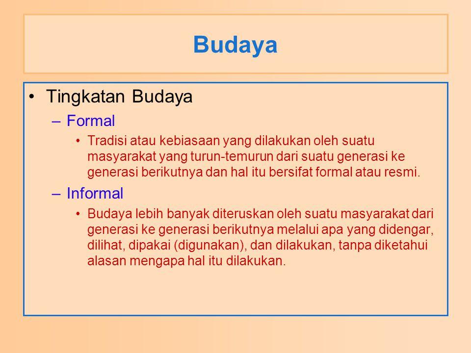 Budaya Tingkatan Budaya Formal Informal