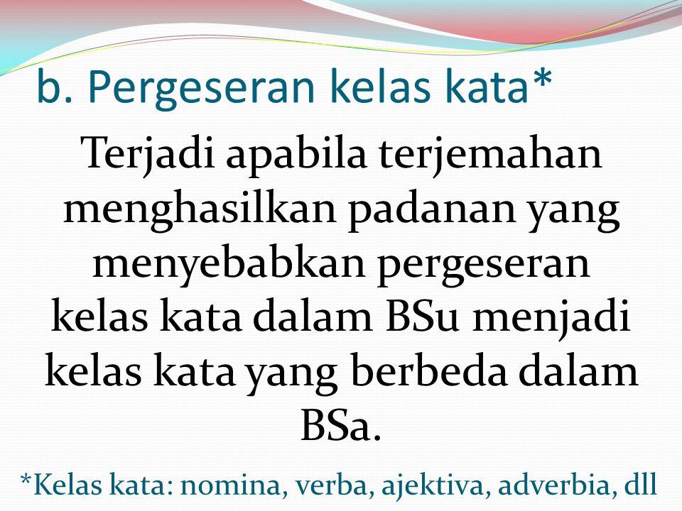 b. Pergeseran kelas kata*