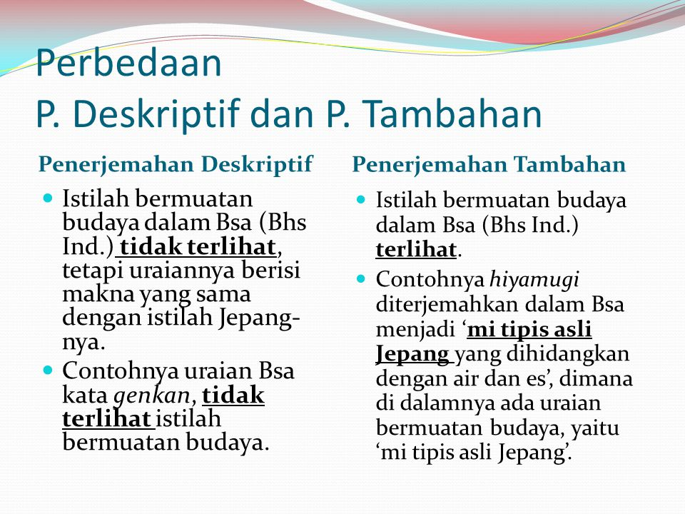 Perbedaan P. Deskriptif dan P. Tambahan
