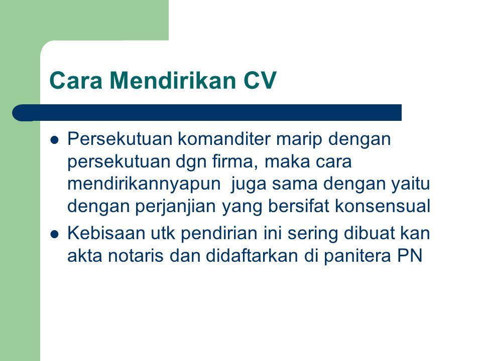 Cara Mendirikan CV