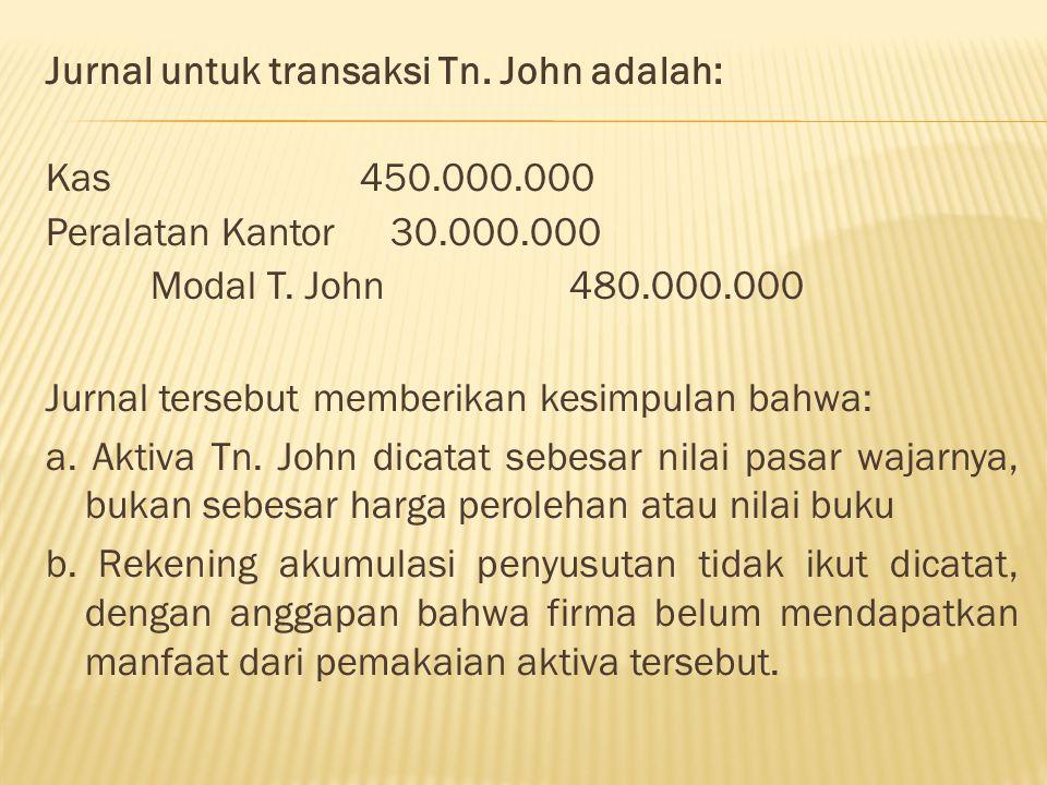 Jurnal untuk transaksi Tn. John adalah: Kas 450. 000