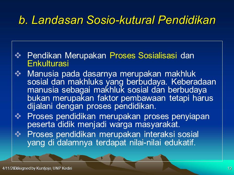 b. Landasan Sosio-kutural Pendidikan