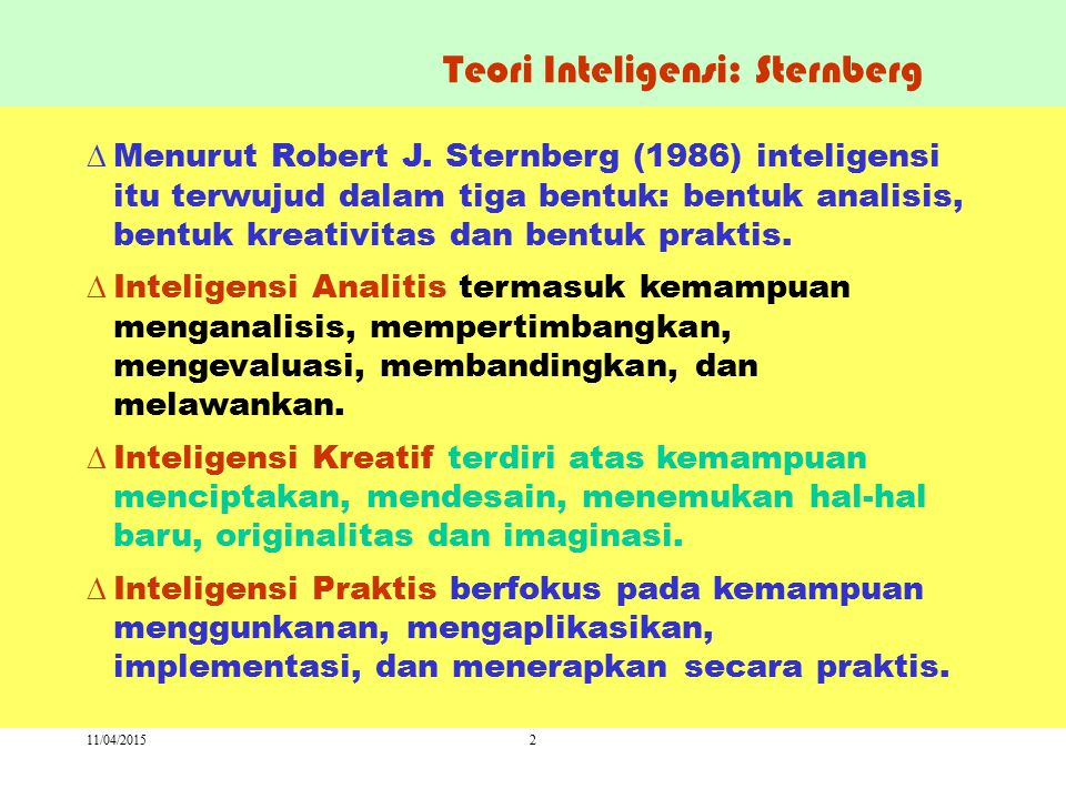 Teori Inteligensi: Sternberg