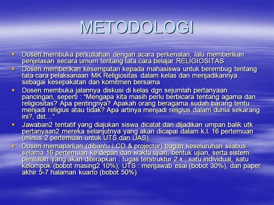 METODOLOGI Dosen membuka perkuliahan dengan acara perkenalan, lalu memberikan penjelasan secara umum tentang tata cara belajar RELIGIOSITAS.
