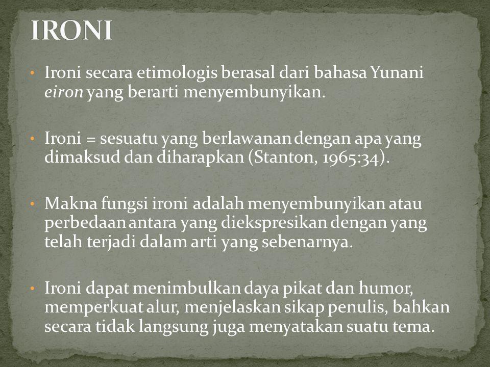 IRONI Ironi secara etimologis berasal dari bahasa Yunani eiron yang berarti menyembunyikan.
