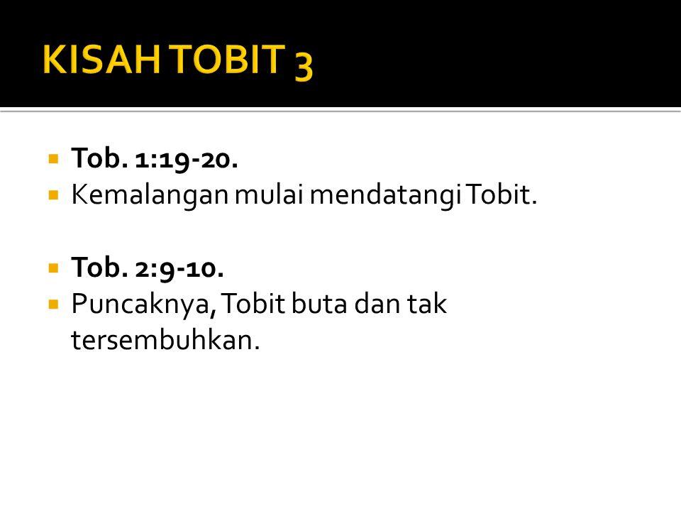 KISAH TOBIT 3 Tob. 1:19-20. Kemalangan mulai mendatangi Tobit.