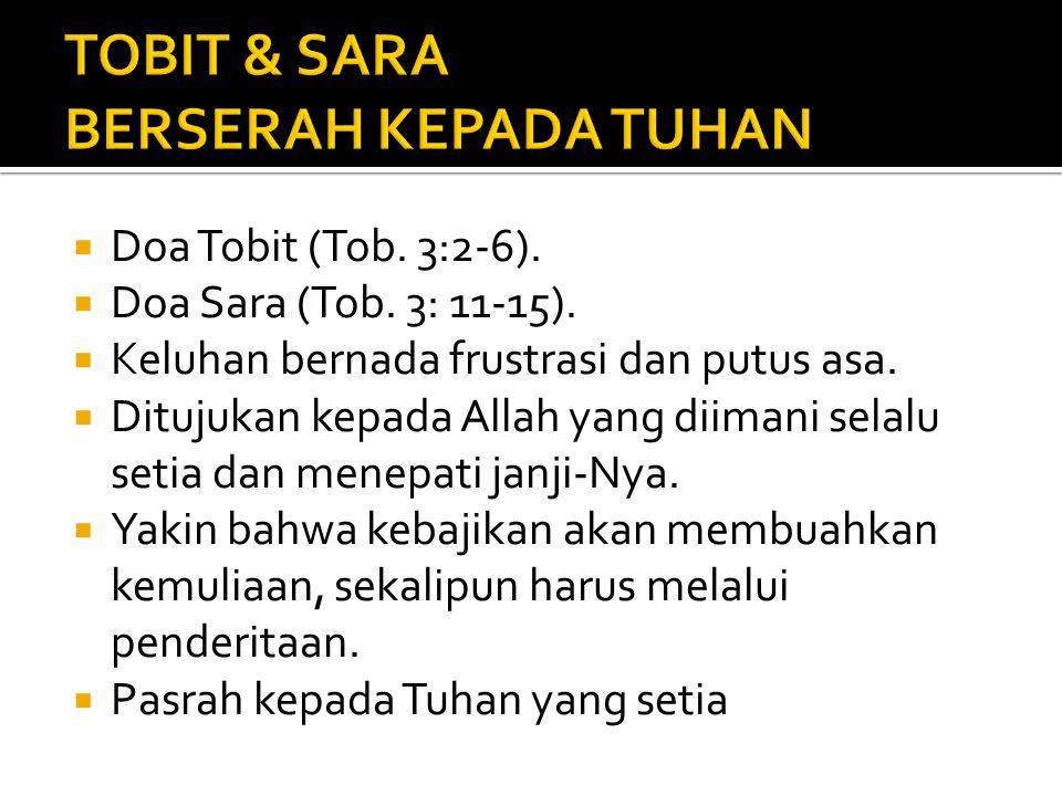 TOBIT & SARA BERSERAH KEPADA TUHAN