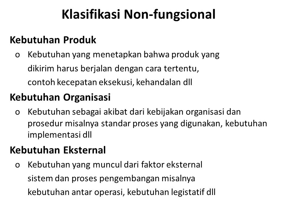 Klasifikasi Non-fungsional
