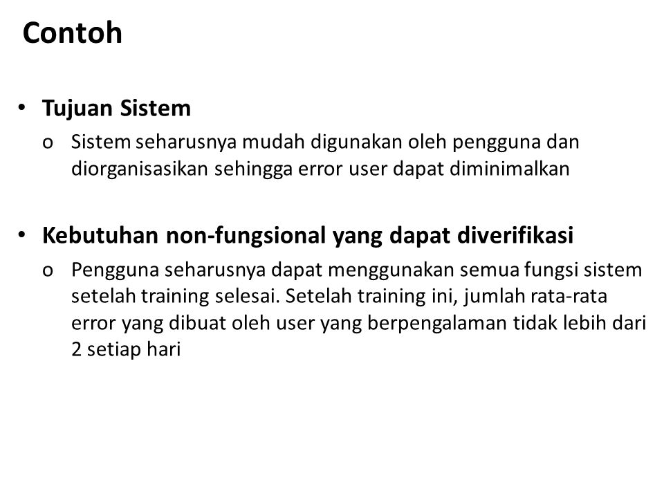 Contoh Tujuan Sistem Kebutuhan non-fungsional yang dapat diverifikasi