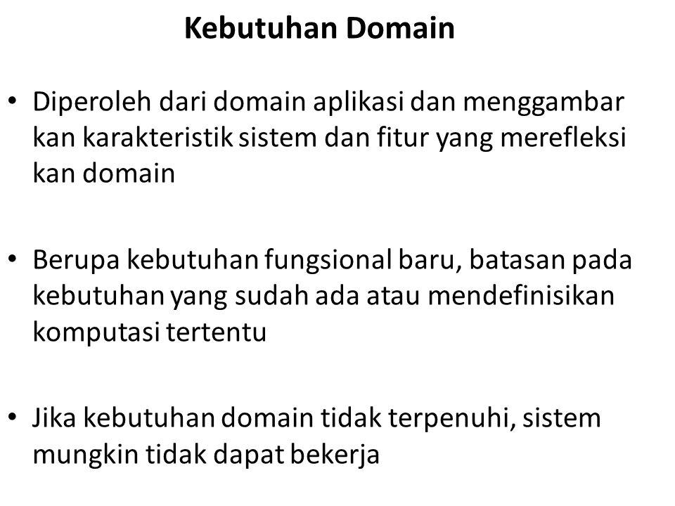 Kebutuhan Domain Diperoleh dari domain aplikasi dan menggambar kan karakteristik sistem dan fitur yang merefleksi kan domain.