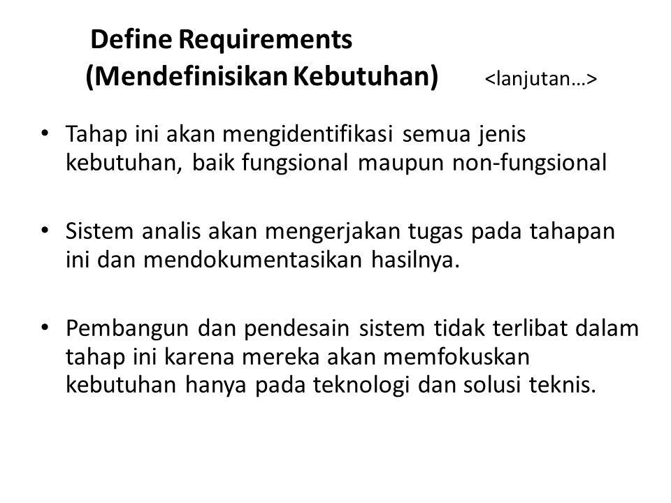 Define Requirements (Mendefinisikan Kebutuhan) <lanjutan…>
