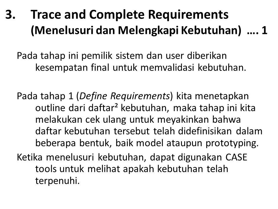 Trace and Complete Requirements (Menelusuri dan Melengkapi Kebutuhan) …. 1