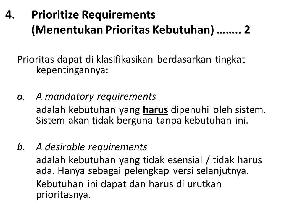 Prioritize Requirements (Menentukan Prioritas Kebutuhan) …….. 2