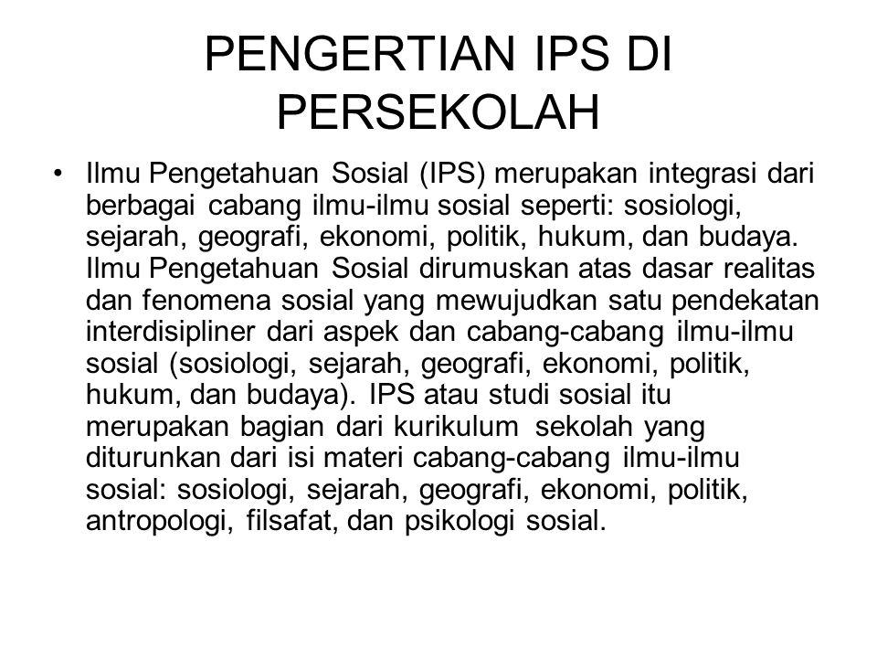 PENGERTIAN IPS DI PERSEKOLAH