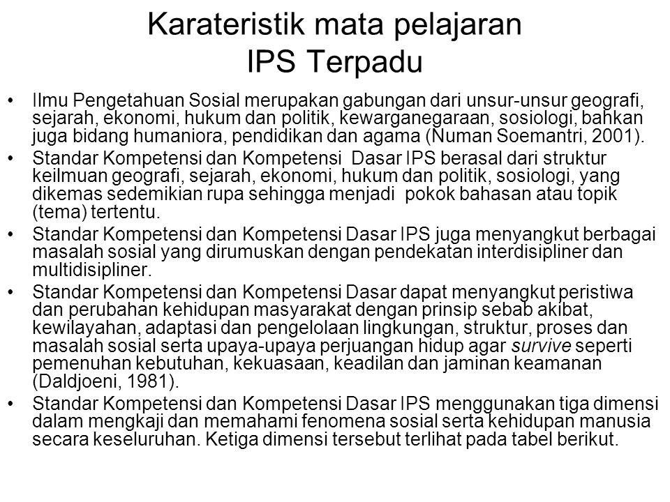 Karateristik mata pelajaran IPS Terpadu