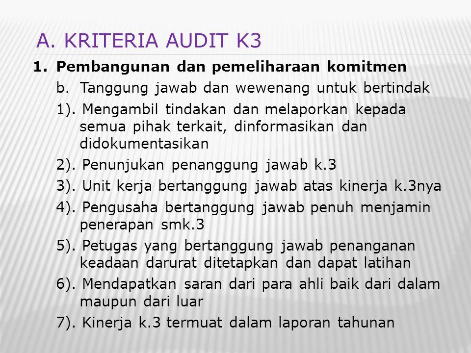 A. KRITERIA AUDIT K3 Pembangunan dan pemeliharaan komitmen