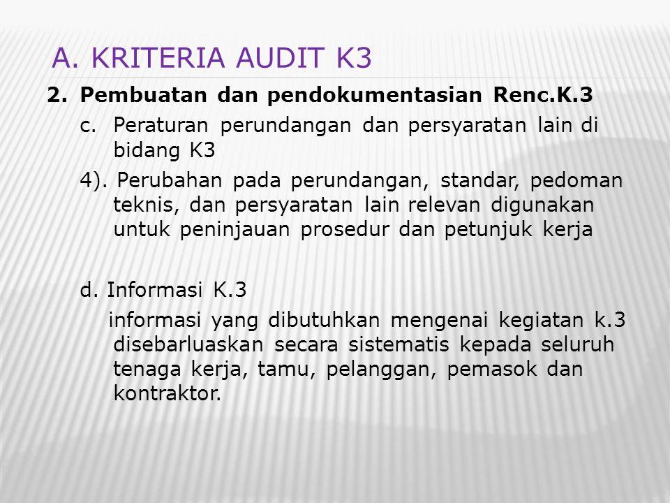 A. KRITERIA AUDIT K3 Pembuatan dan pendokumentasian Renc.K.3
