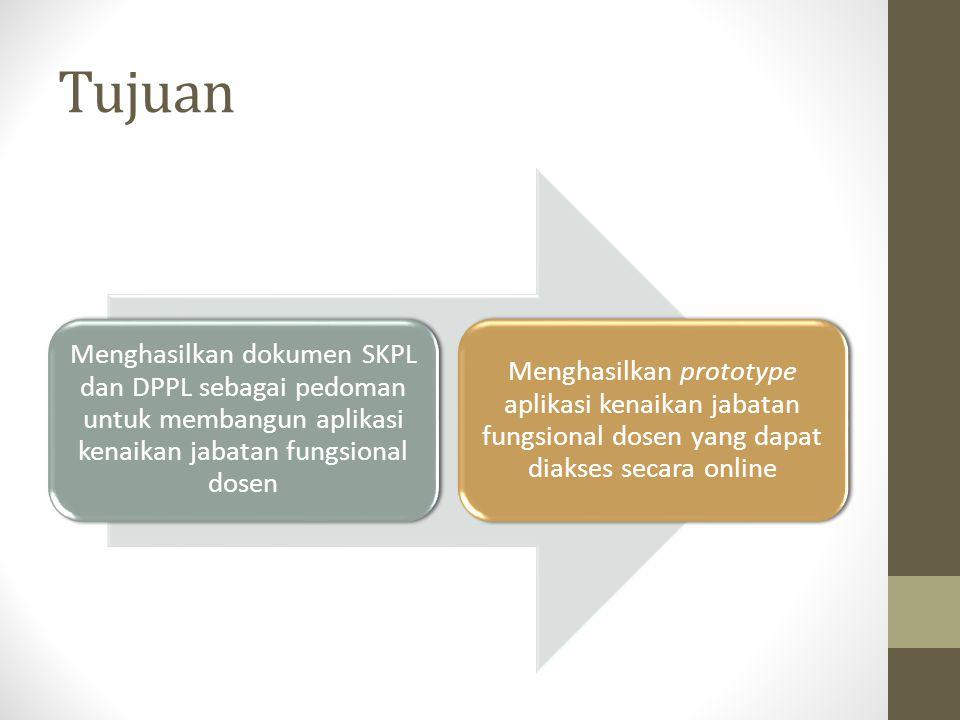 Tujuan Menghasilkan dokumen SKPL dan DPPL sebagai pedoman untuk membangun aplikasi kenaikan jabatan fungsional dosen.