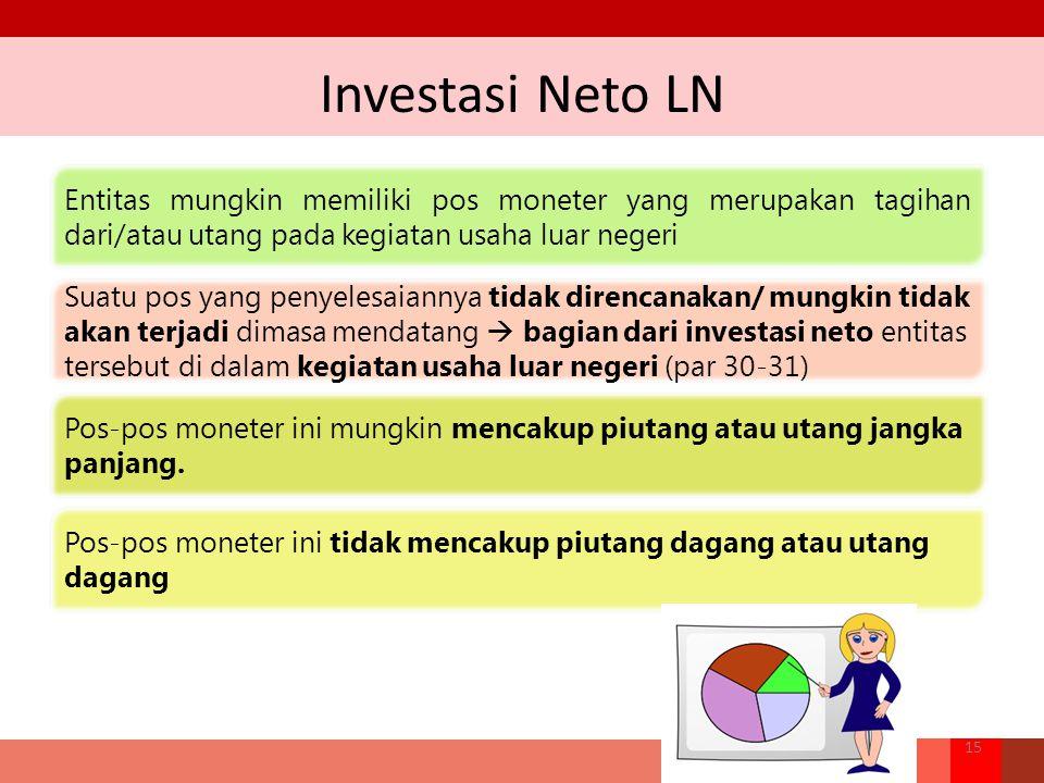 Investasi Neto LN Entitas mungkin memiliki pos moneter yang merupakan tagihan dari/atau utang pada kegiatan usaha luar negeri.