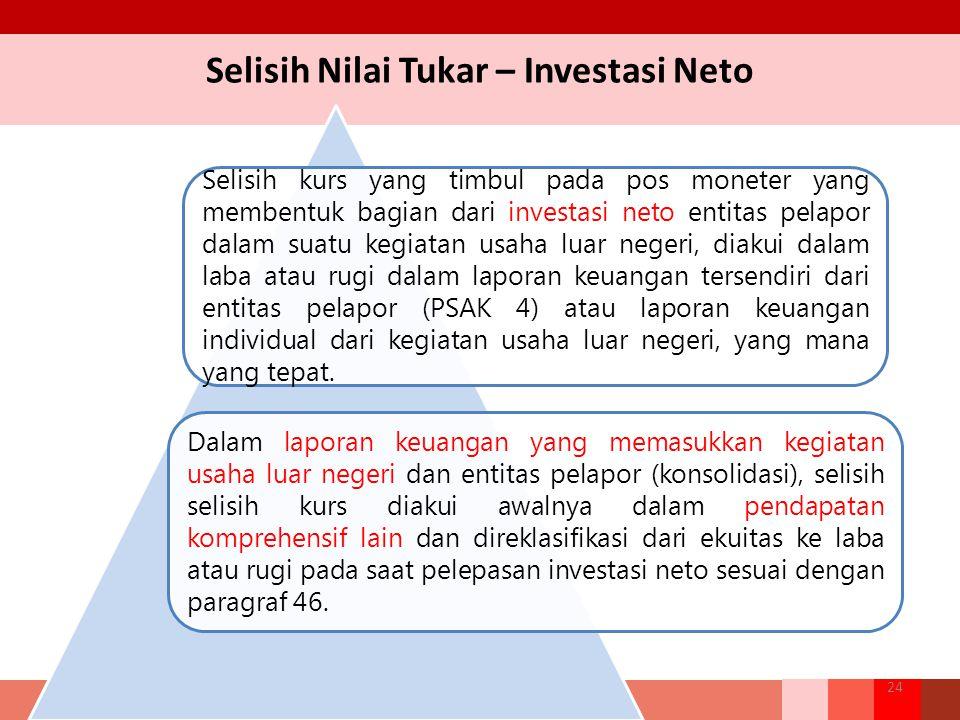 Selisih Nilai Tukar – Investasi Neto