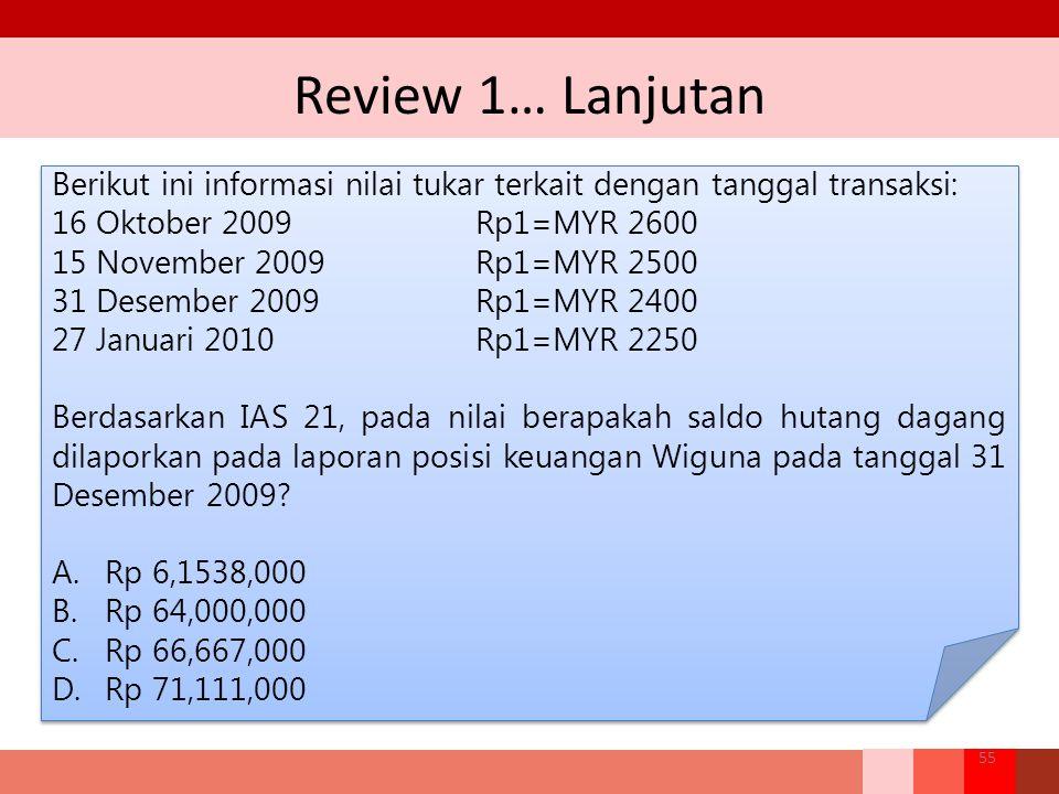 Review 1… Lanjutan Berikut ini informasi nilai tukar terkait dengan tanggal transaksi: 16 Oktober 2009 Rp1=MYR 2600.