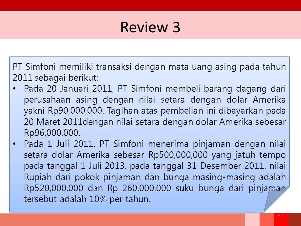 Review 3 PT Simfoni memiliki transaksi dengan mata uang asing pada tahun 2011 sebagai berikut: