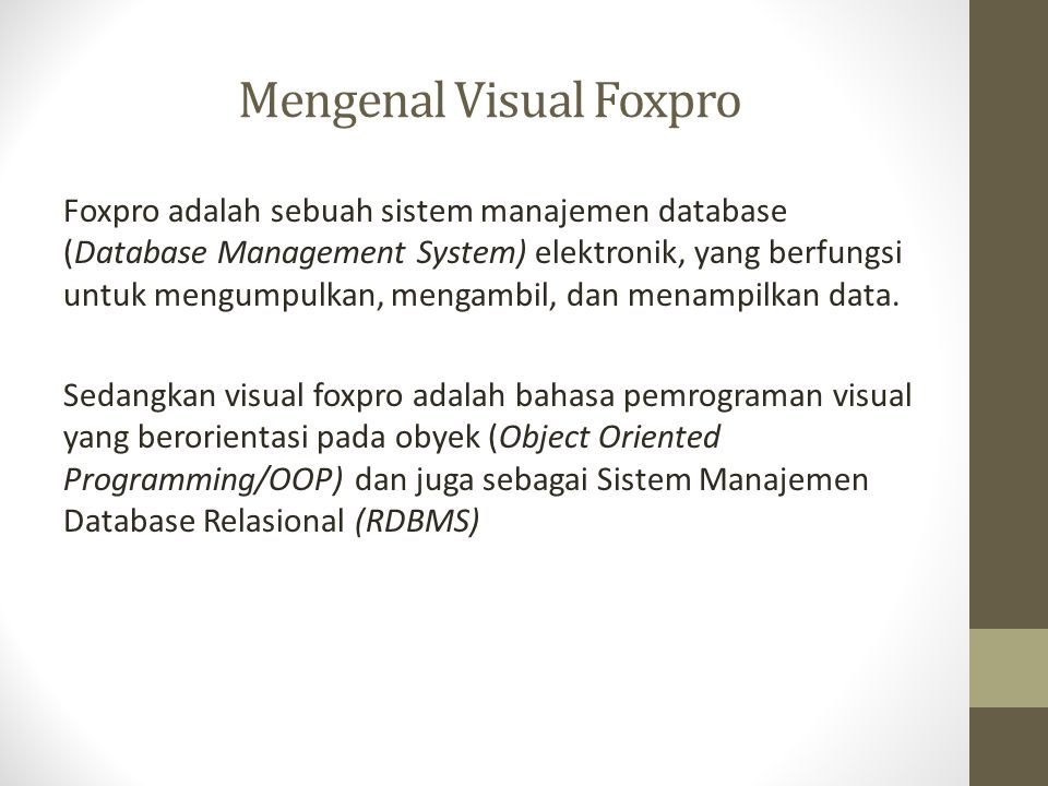 Mengenal Visual Foxpro