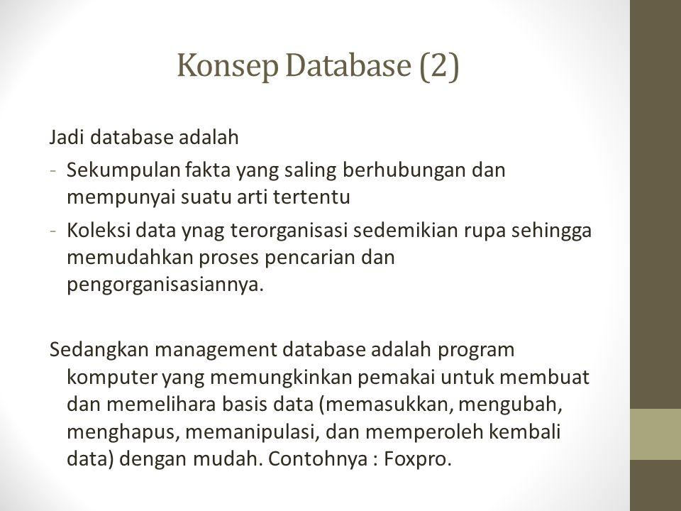 Konsep Database (2) Jadi database adalah
