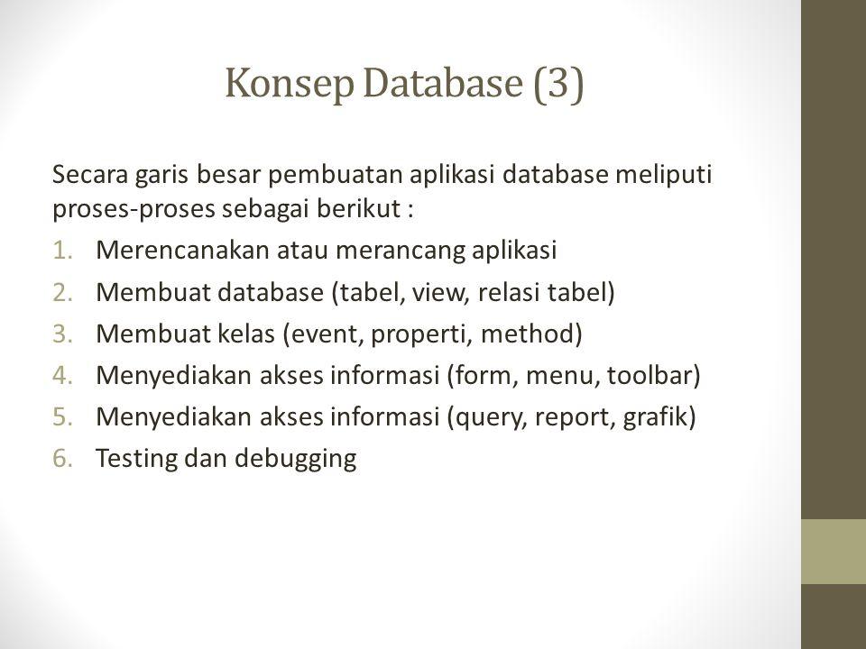 Konsep Database (3) Secara garis besar pembuatan aplikasi database meliputi proses-proses sebagai berikut :