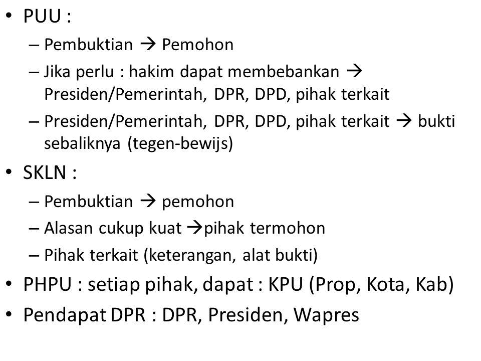 PHPU : setiap pihak, dapat : KPU (Prop, Kota, Kab)