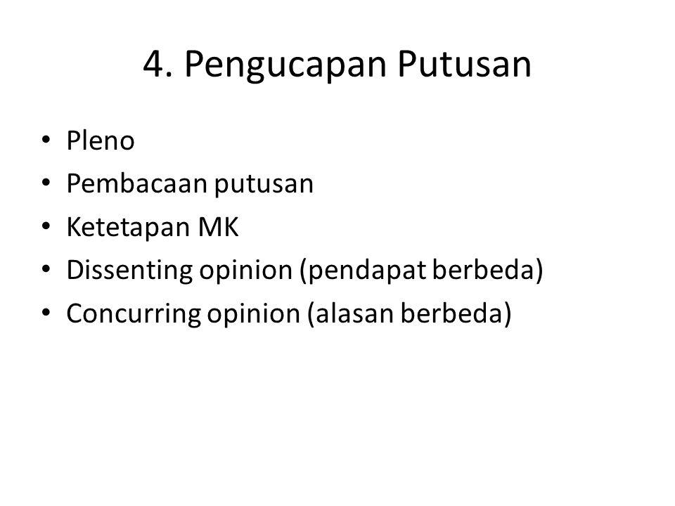 4. Pengucapan Putusan Pleno Pembacaan putusan Ketetapan MK
