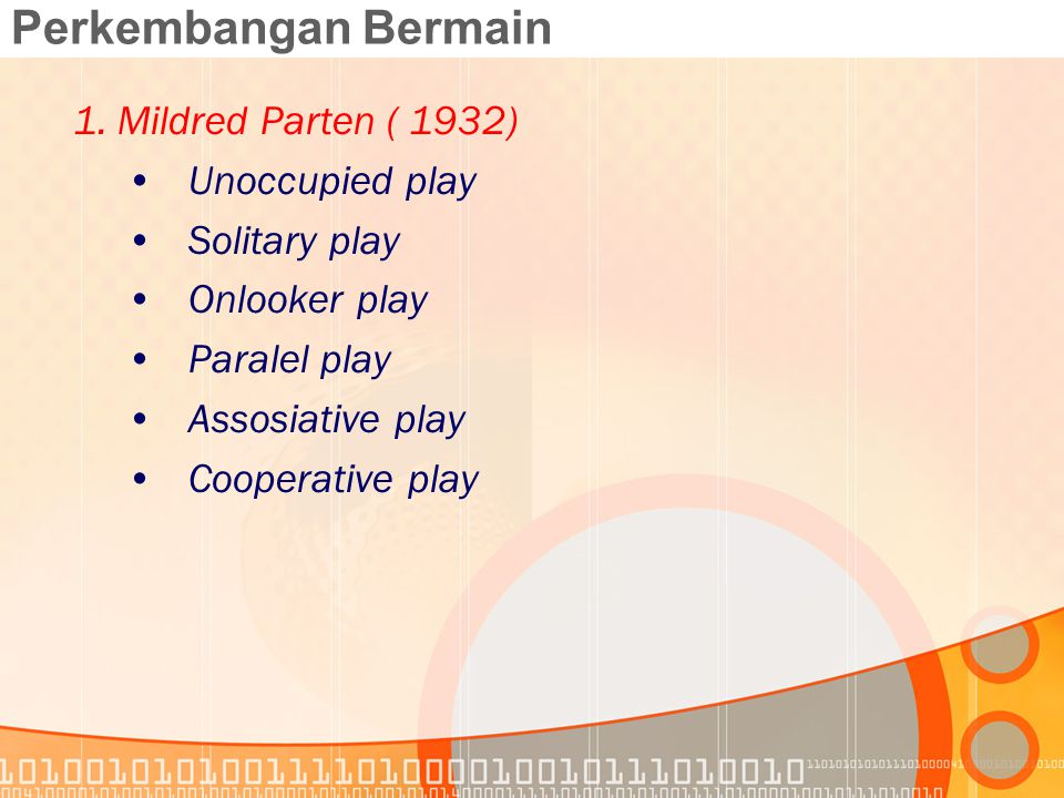 Perkembangan Bermain Mildred Parten ( 1932) Unoccupied play